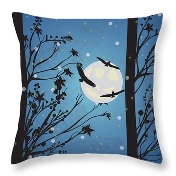 Throw Pillow featuring the digital art Blue Winter Moon by Kim Prowse