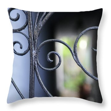 Throw Pillow featuring the photograph Blue Wrought Iron Scroll by Heather Green
