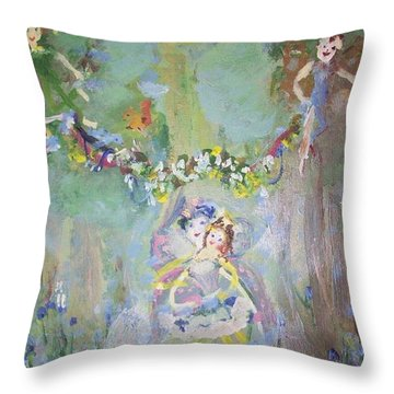 Bluebell Fairies Throw Pillow by Judith Desrosiers