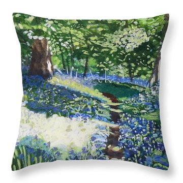 Bluebell Forest Throw Pillow by Joanne Perkins