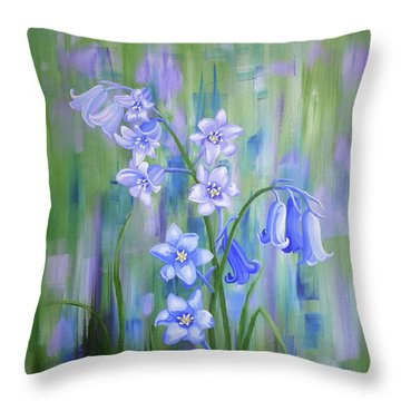 Bluebell Haze Throw Pillow