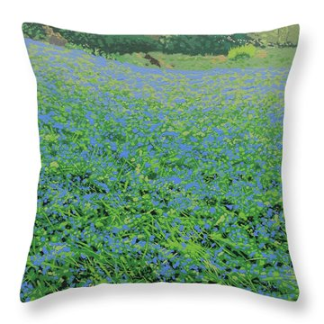 Bluebell Hill Throw Pillow by Malcolm Warrilow
