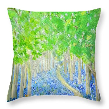 Bluebell Wood With Butterflies Throw Pillow