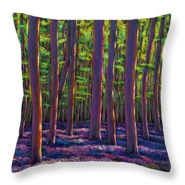 Bluebells And Forest Throw Pillow