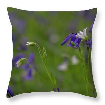 Bluebells And Stitchwort  Throw Pillow