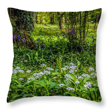 Bluebells And Wild Garlic At Coole Park Throw Pillow
