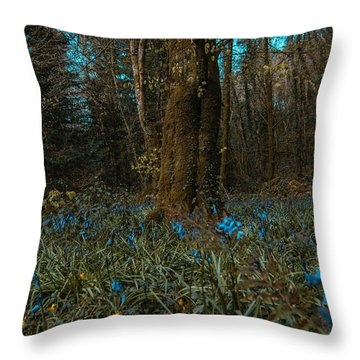 Bluebells In Lismore Forest 2 Throw Pillow