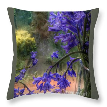 Bluebells In My Garden Window Throw Pillow