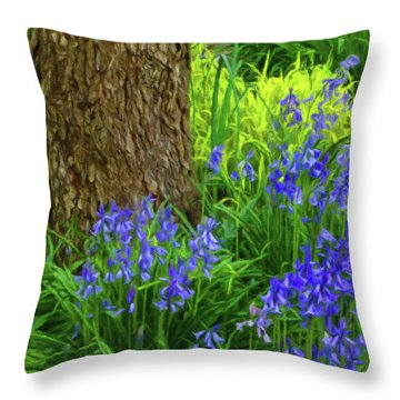 Throw Pillow featuring the photograph Bluebells Of Springtime  by Connie Handscomb