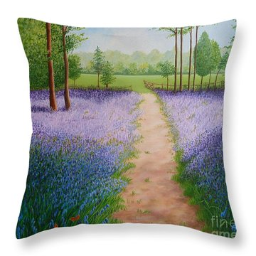 Bluebells With Butterflies Throw Pillow