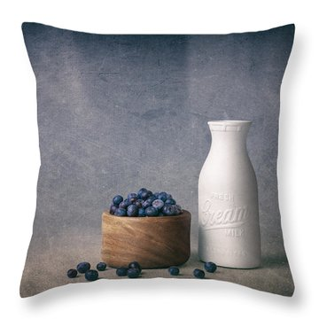 Blueberries And Cream Throw Pillow by Tom Mc Nemar