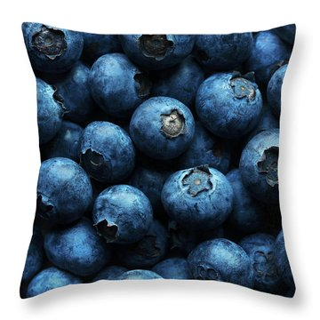 Blueberries Background Close-up Throw Pillow