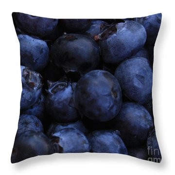 Blueberries Close-up - Horizontal Throw Pillow by Carol Groenen