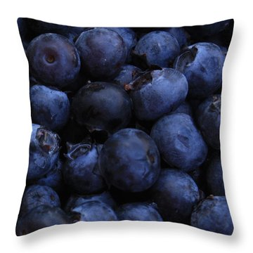 Blueberries Close-up - Vertical Throw Pillow by Carol Groenen
