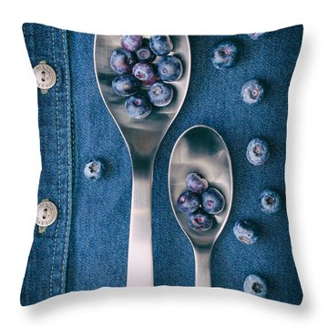 Blueberries On Denim I Throw Pillow by Tom Mc Nemar