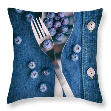Blueberries On Denim II Throw Pillow