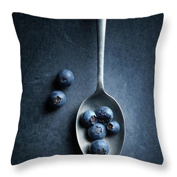 Blueberries On Spoon Still Life Throw Pillow