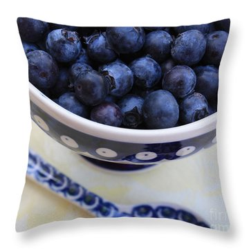 Blueberries With Spoon Throw Pillow by Carol Groenen