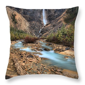 Throw Pillow featuring the photograph Blueberry Blue Waters Under Takakkaw Falls by Adam Jewell