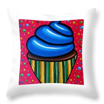Blueberry Cupcake - Abstract Painting Throw Pillow