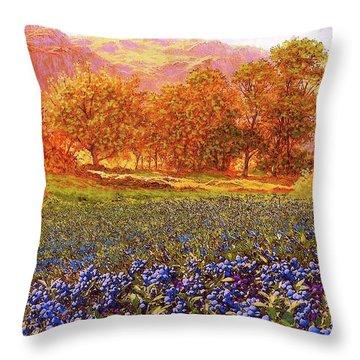 Blueberry Fields Season Of Blueberries Throw Pillow