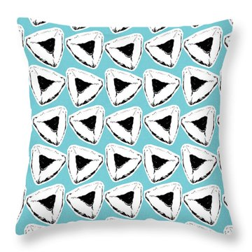 Throw Pillow featuring the mixed media Blueberry Hamentashen- Art By Linda Woods by Linda Woods