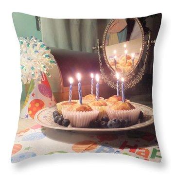 Blueberry Muffin Birthday Throw Pillow