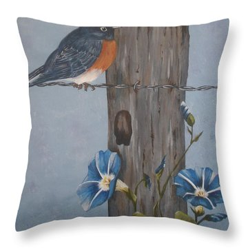 Throw Pillow featuring the painting Bluebird And Morning Glories by Betty-Anne McDonald