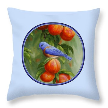 Bluebird And Peaches Iphone Case Throw Pillow by Crista Forest
