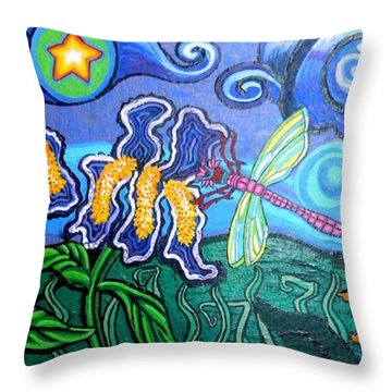 Bluebird Dragonfly And Irises Throw Pillow by Genevieve Esson