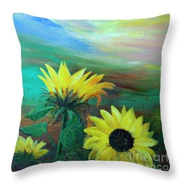 Bluebird Flying Over Sunflowers Throw Pillow