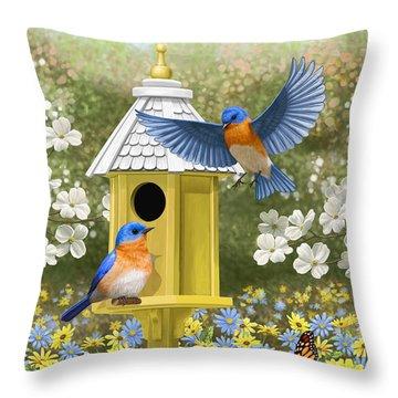 Bluebird Garden Home Throw Pillow by Crista Forest
