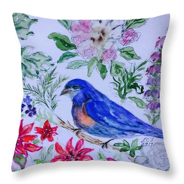 Bluebird In A Garden Throw Pillow