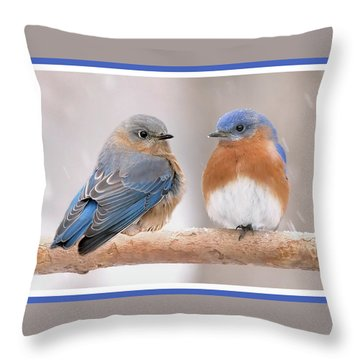 Bluebird Love Throw Pillow