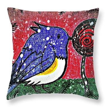 Bluebird Of The Season Throw Pillow