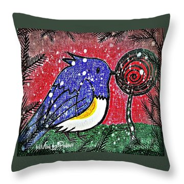Bluebird Of The Season Throw Pillow by MaryLee Parker