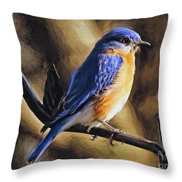 Bluebird Portrait Throw Pillow