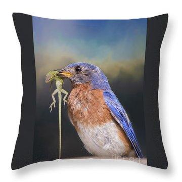 Bluebird With Lizard Throw Pillow by Bonnie Barry