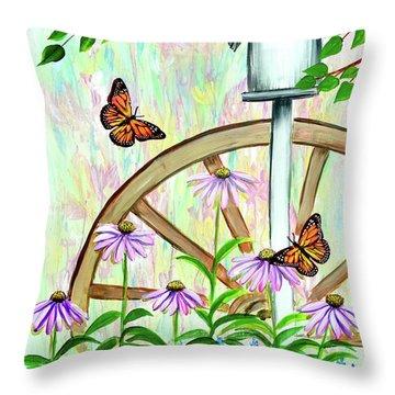 Bluebirds And Butterflies Throw Pillow