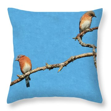 Bluebirds On A Crazy Limb Throw Pillow