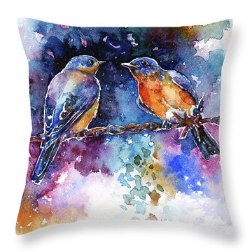 Throw Pillow featuring the painting Bluebirds by Zaira Dzhaubaeva
