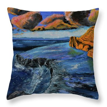 Blue,blue Ocean With Clouds Throw Pillow