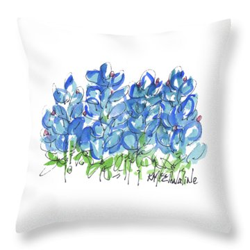 Bluebonnet Dance Watercolor By Kmcelwaine Throw Pillow