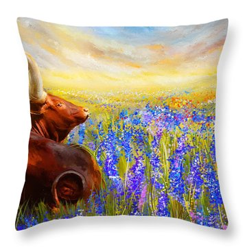 Bluebonnet Dream - Bluebonnet Paintings Throw Pillow