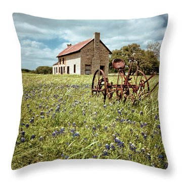 Throw Pillow featuring the photograph Bluebonnet Fields by Linda Unger