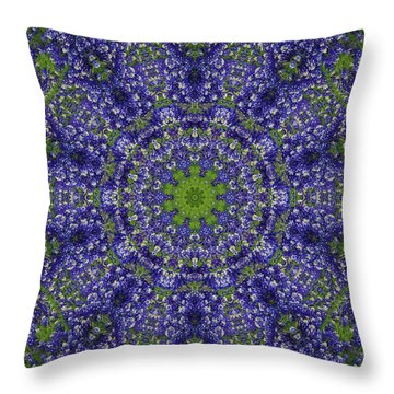 Bluebonnet Lace Kaleidoscope Throw Pillow by Robyn Stacey