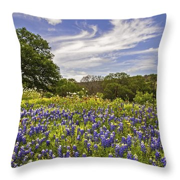 Bluebonnet Spring Throw Pillow