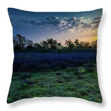 Bluebonnet Sunrise Throw Pillow by Mark Alder