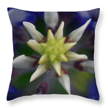 Throw Pillow featuring the photograph Bluebonnet Top by Jerry Bunger