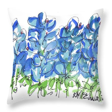 Bluebonnet Dance Whimsey,by Kathleen Mcelwaine Southern Charm Print Watercolor, Painting, Throw Pillow by Kathleen McElwaine